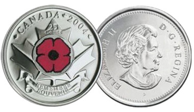 ... and the first coloured circulation coin from 2004.