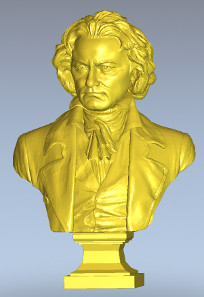 A three-dimensional portrait is transferred into two dimensions.