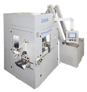 Vertical coin minting press.