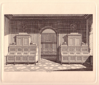 Cabinets to store coins at Rosenborg Castle. Source: National Museum of Denmark.