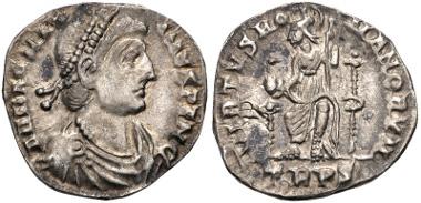 Lot 625: Magnus Maximus. AD 383-388. Siliqua. Treveri (Trier) mint. TRPS. RIC IX 84b1; RSC 20†a. Near EF. Ex 2010 Gussage All Saints Hoard. Estimate $300.