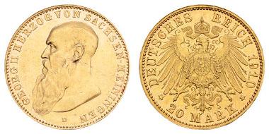 Sachsen-Meiningen, Georg II., 1866-1914 20 M 1910 D. Ein aktuelles Fotogutachten Franquinet liegt vor. Jaeger 281 RR, vz+. Ausruf: 8.000 Euro.