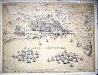 Belagerung der Stadt Nizza durch die osmanische und französische Flotte im Jahr 1543. Quelle: Wikipedia.