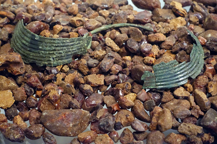 Hoard find of amber, around 1400 BC, discovered in North Jutland together with two bronze collars. Photo: UK.