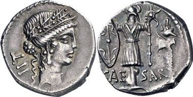 C. Iulius Caesar. Denarius, 48-47. Rev. Trophy with Gallic trumpet. Auction Gorny & Mosch 176 (2009), 1972.