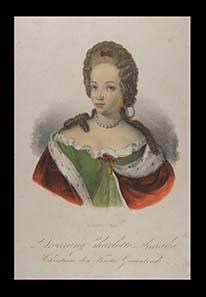 Charlotte Amalie, Prinzessin von Hessen-Kassel, Königin von Dänemark. Kolorierte Lithographie um 1860. Stadtmuseum Hofgeismar / VHG.
