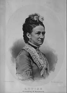 Louise, geb. Prinzessin von Hessen-Kassel, Gemahlin des dänischen Königs Christian IX. Lithographie von Isaac Wilhelm Tegner (1815-1893), Stadtmuseum Hofgeismar/VHG.