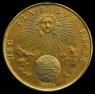 Nec Pluribus Impar. Designed by Jean Warin, 1672. Louis XIV as the sun warming the earth and the inscription means 'not unequal to many' which was his motto. © The Trustees of the British Museum.