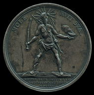 Colossus of Rhodes, 1709. Louis is shown as the Colossus of Rhodes crumbling under its own weight. The medal celebrates the capture of Hainault from the French in 1709 and is representative of the widespread feeling that Louis' pre-eminence was coming to an end. © The Trustees of the British Museum.