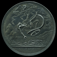 Medal with the Duke of Savoy as Jupiter in the form of an eagle, striking down Phaethon with a thunderbolt. Made by Jan Smeltzing, Netherlands, 1706. © The Trustees of the British Museum.