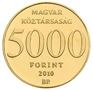 Fineness: Au .999 - Face value: 5.000 HUF - Diameter: 11 mm -  Weight: 0.5 g - Mintage: 10.000 pcs Proof-like - Designer: László Szlávics Jr.