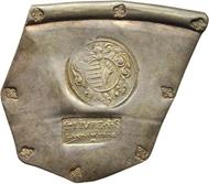 Festung Landau, Graf Ezéchiel de Mélac, 4 Livres 4 Sous 1702 (Belagerungsmünze aus Tafelsilber), 64,7 x 56,3 mm; 25,52 g.