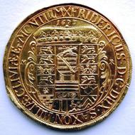 Goldabschlag vom Gothaer Wanderertaler von 1673. Foto: W. Steguweit.