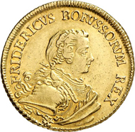The great role model of Peter III: Frederick II on his Friedrichs d'or from 1749. Auction Künker 250 (2014), lot 2602; estimate: 5,000 euros. Hammer price: 17,000 euros.