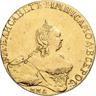 The predecessor of Peter: Elizabeth I with a gold 10 roubel piece from 1756, struck in Moscow. Auction Künker 258 (2015), lot 851; estimate: 15,000 euros. Hammer price: 32,000 euros.