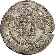 Charles V, King of Spain (1516-1556). Holy Roman Emperor (since 1519). Half ducato, around 1552. Armour-clad bust of Charles with laurel wreath to the right. Rv. Coat of arms of Charles V, crowned, double-headed eagle in the background. © MoneyMuseum, Zurich.