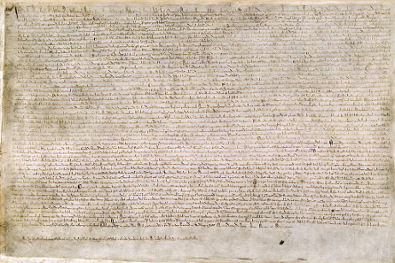 Magna Carta, 1215. London, British Library, Cotton MS. Augustus II. 106. Source: Wikipedia.