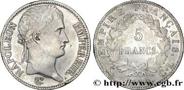 Emperor Napoléon. 5 Francs. 1814 CL. Estimate: 35,000 euro.