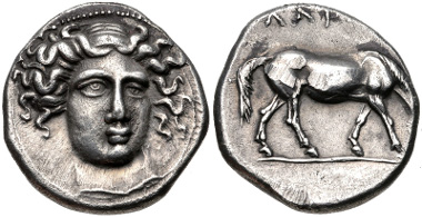 Lot 68: THESSALY, Larissa. Circa 405/0-370 BC. Drachm. L-S Group 5, Head Type 24 (O114/R- [unlisted rev. die]); cf. BCD Thessaly II 256 (same obv. die); HGC 4, 430. Good VF. From the BCD Collection. Estimate $200.