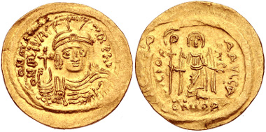 Lot 641: Maurice Tiberius. 582-602. Solidus. Constantinople mint. Struck 583-601. DOC 5a; MIBE 6; SB 478. VF. From the Prue Morgan Fitts Collection. Estimate $300.