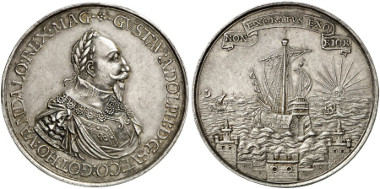 Sweden. Gustavus II Adolphus. Silver medal, n. y. (1630). On the departure from Stockholm to Germany. Auction sale Künker 249 (2014), 314.
