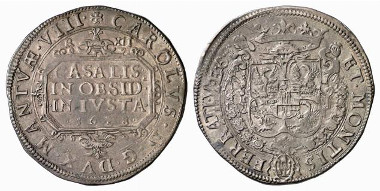 Casale Montferrato. Charles I Gonzaga. Scudo, 1628. Struck on a billon planchet during the siege of the War of the Mantuan Succession. Auction sale Künker 116 (2006), 4122.