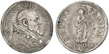 Vatican. Urban VIII. Testone, 1616/1637, Rome. Auction sale Künker 233 (2013), 1373.