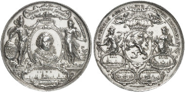 Cast silver medal 1630 by A. van der Wilge on the captures of Grol (1627), Wesel (1629), S'Hertogenbosch (1629) and Pernambuco (1630) by stadtholder Frederick Henry of Nassau-Orange and his assistance in capturing the Spanish silver fleet in Matanzas Bay, Cuba. Auction sale Künker 261 (2015), 5802.
