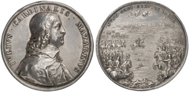 Casale Montferrato. Charles I. Silver medal (by J. Warin), n. y. (1630). On the truce negotiated by Papal Legate Cardinal Jules Mazarin. Auction sale Künker 247 (2014), 5301.