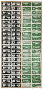 Andy Warhol, One Dollar Bills, 1962. Acrylic and silkscreen ink on canvas, in two parts. Each: 210.2 x 48.3 cm. £13,000,000-18,000,000. © Sotheby's