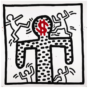 Keith Haring, Untitled, 1982. Baked enamel on metal, 109,2 x 109,2 cm. £250,000-350,000. © Sotheby's