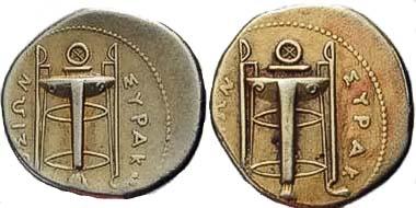 Abb. 12 und 13: Zwei sehr gefährliche Fälschungen eines 25-Litren Stücks aus Syrakus