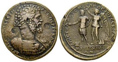 334: Lesbos, Mytilene, Septimius Severus, 193-211. Medallion 193-211, Mionnet 163. Extremely rare. Good Very fine. Starting bid: £500.
