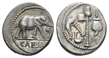 440: Julius Caesar. Denarius mint moving with Caesar 49-48, Babelon Julia 9. C 9. Sydenham 1006. Sear Imperators 9. RBW 1557. Crawford 443/1. Extremely Fine. Starting bid: £200.