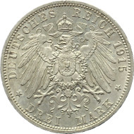 J55: BRAUNSCHWEIG. Herzogtum. Ernst August, 1913-1918. 3 Mark 1915 Regierungsantritt. J. 55. Rs. winziger Randfehler, fast Stempelglanz. 2.950 Euro.