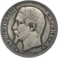 F04-780.1: FRANKREICH. Napoleon III., 1852-1870. Paris. 2 Francs 1857A. Gad. 523; KM 780.1; S. 98. Prachtvolle Patina, fast Stempelglanz. 1.950 Euro.