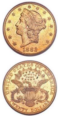1882 $20 AU53 PCGS.