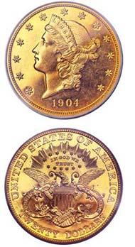 1904 $20 PR65 Cameo PCGS.