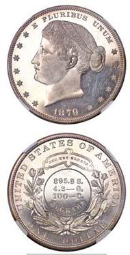 1879 $1 Metric Dollar, Judd-1622, Pollock-1818, Low R.7, PR68 Cameo NGC, Designer: George Morgan.