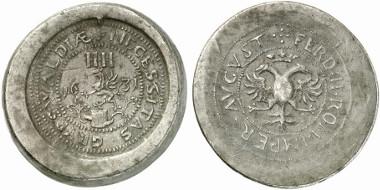 Germany. Greifswald. Lead emergency token of 4 ounces, 1631. Auction sale Künker 211 (2012), 3087.