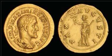Maximinus I, Thrax (235-238), aureus, Rome, April-December 235, 5.37g. RIC 12; BMC 4; C. 30; Calico 3159; Alram 10/1B.
