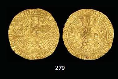 Edward IV, first reign (1461-70), light coinage, half-ryal, London, 3.80g, Blunt & Whitton viiia variant 2; Schneider - cf. 388-9; N. 1554; S. 1959.