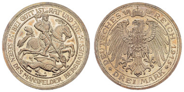 Los 365: Preußen (Wilhelm II. 1888-1918), 3 M, 1915. Ausruf: 1.200 Euro, Zuschlag: 2.000 Euro.