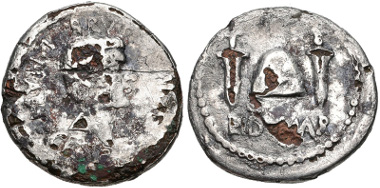 Lot 465: Brutus. Late summer-autumn 42 BC. Fourrée Denarius. Mint moving with Brutus in northern Greece. Cf. Crawford 508/3; cf. CRI 216; cf. Sydenham 1301; cf. RSC 15. Very rare. Estimate: $2000.