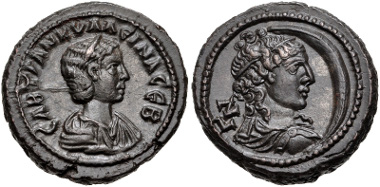 Lot 443. Egypt, Alexandria. Tranquillina. Augusta, AD 241-244. Potin Tetradrachm. Dated RY 7 of Gordian III (AD 243/4). Dattari (Savio) 4838; K&G 73.38; Emmett 3460.7 (R5). EF. Rare. From the Hermanubis Collection. Estimate $250.