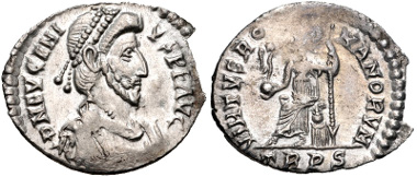 Lot 633: Eugenius. AD 392-394. Siliqua. Treveri (Trier) mint. RIC IX 106d; RSC 14+a. Near EF. Rare. Ex 2010 Gussage All Saints Hoard. Estimate: $750.