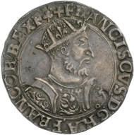 Francis I of France (1515-1547). Testone, Lyon, 1543-1547. Armour-clad bust of the King with crown, frontal view, head to the right. Rev. Crowned fleur-de-lis coat of arms. © MoneyMuseum, Zurich.