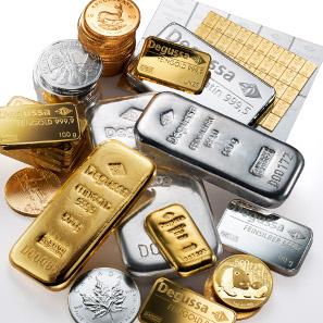 Anlage-Barren und -Münzen der Degussa Goldhandel GmbH.