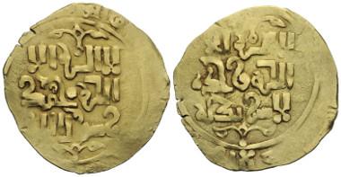 Los 568: CHINGIZIDEN (GROSSMONGOLEN). Chingiz Khan (603 - 624 H. / 1206 - 1227 oder posthum). Dinar. 620er - 630er H. Jahr und Münzstätte nicht lesbar.