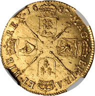 GREAT BRITAIN. Guinea, 1687. James II (1685-88). NGC MS-64.